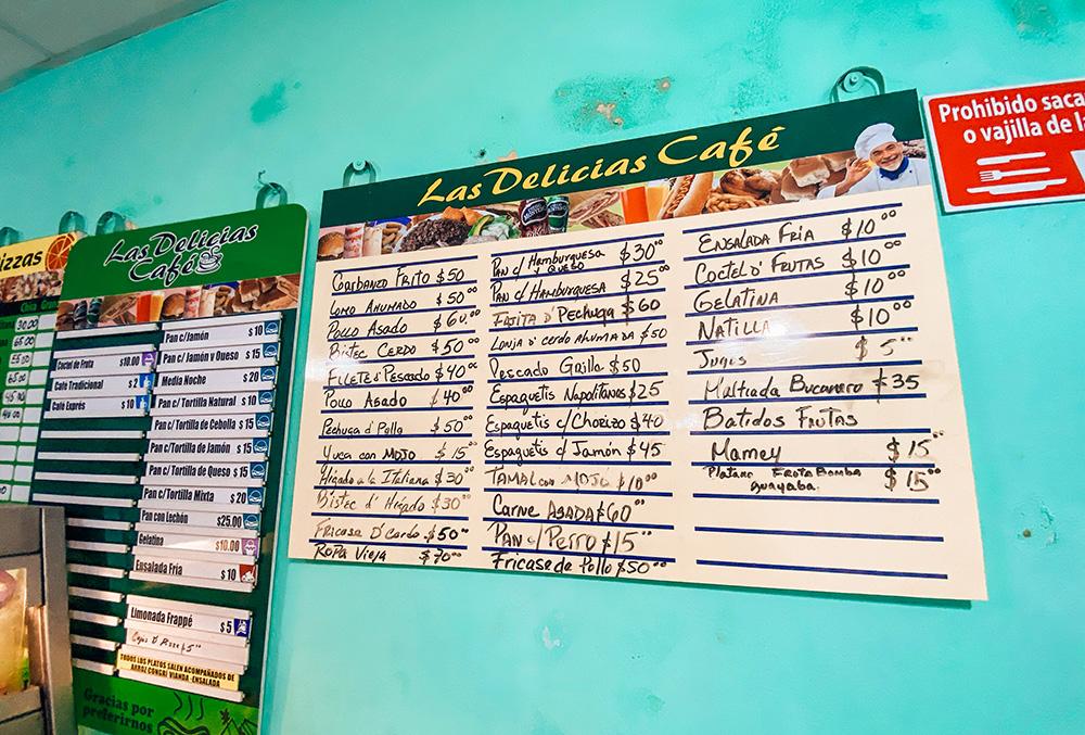 Precios de un restaurante local en La Habana