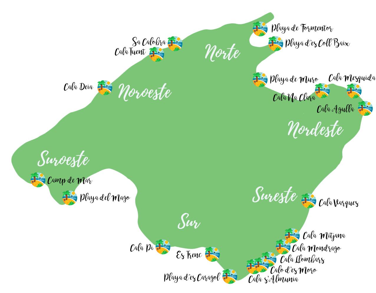 Mapa con la ubicación de las 20 mejores playas y calas de Mallorca